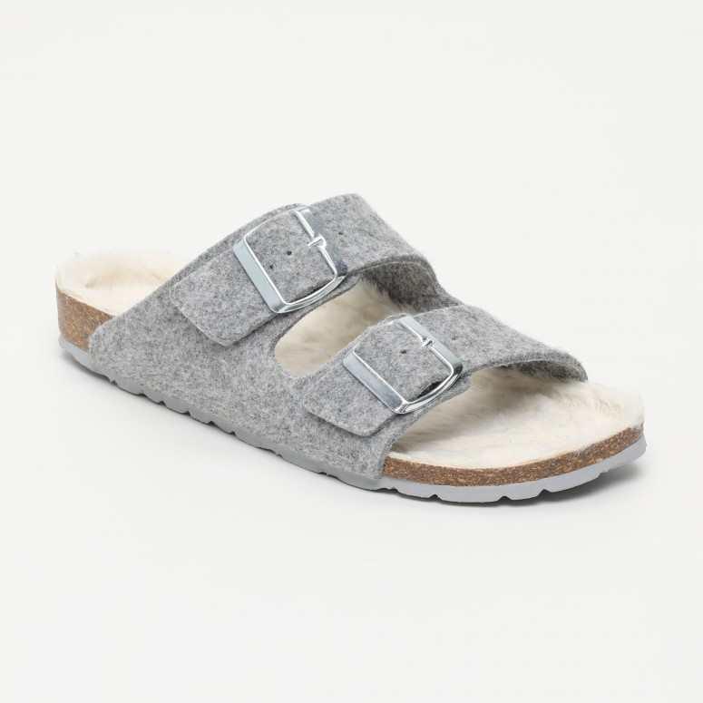 Mules Makaio En Fourrure grise